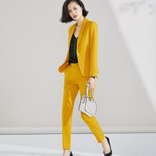 Pant Suit 2019 for Woman S 5XL Plus Size 2 Piece Set Yellow Blazer Jacket Yellow Trousers Costume Blazer Pants Suit Set ow0518 металлоискатель garrett at pro international