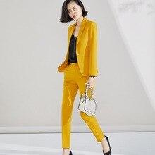 Pant Suit 2019 for Woman S 5XL Plus Size 2 Piece Set Yellow