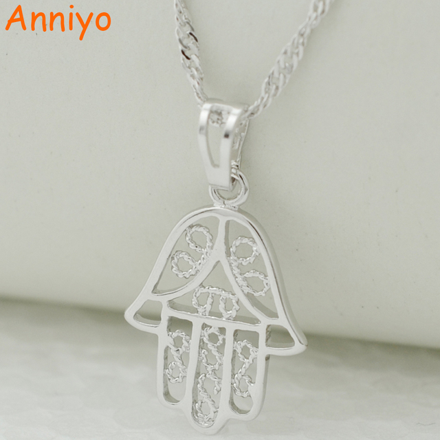 Anniyo small hamsa hand silver color pendant necklaces for women anniyo small hamsa hand silver color pendant necklaces for womenarabic jewelry femalenazar mozeypictures Image collections