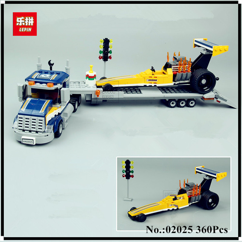 IN STOCK Lepin 02025 360Pcs City Series The High Speed Racer Transporter Set Children Educational Building Blocks Bricks Toys lepin 02025 city the high speed racer transporter 60151 building blocks policeman toys for children compatible with lego