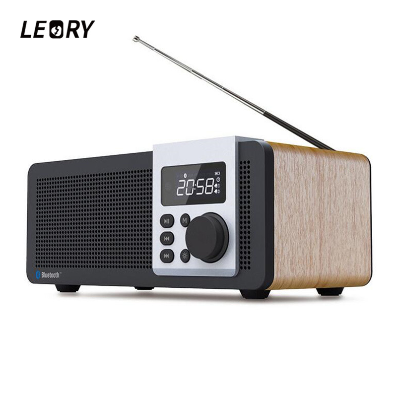 LEORY Remote Control Wooden Bluetooth Speaker Alarm Clock MP3 Player FM Radio TF USB Super Bass Speaker 2500mah Home Speaker portable mini mp3 vibration speaker w fm usb tf remote controller black page 9