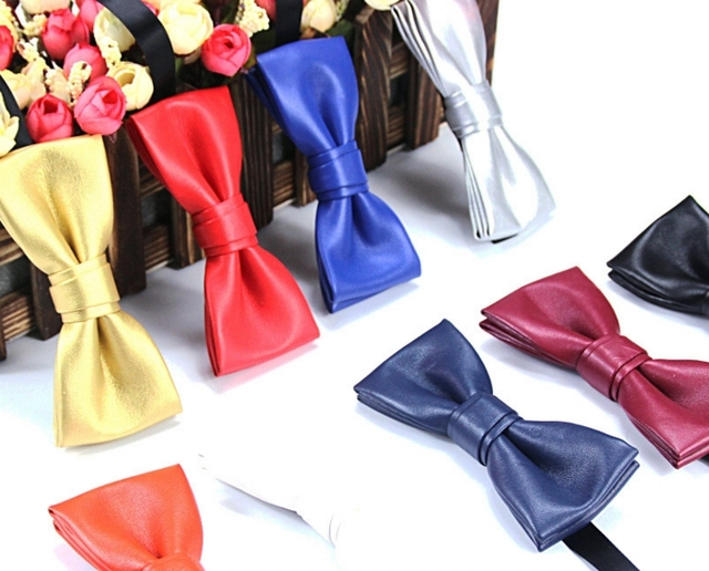 0ff4eab6ce4b Fashion mens boys classical suit wedding business party banquet double  bowknot pu leather candy color bow ties Gold Silver black
