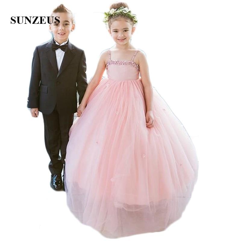 Lovely Pink Ball Gown Flower Girls Dresses Spaghetti Straps Beaded Sequins Charming Girls Pageant Dress Long Back Flowers SF27