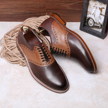DESAI Brand Top Quality Oxford Shoes For Men Genuine Leather Mixed Color England Style Handmade Size 38-43