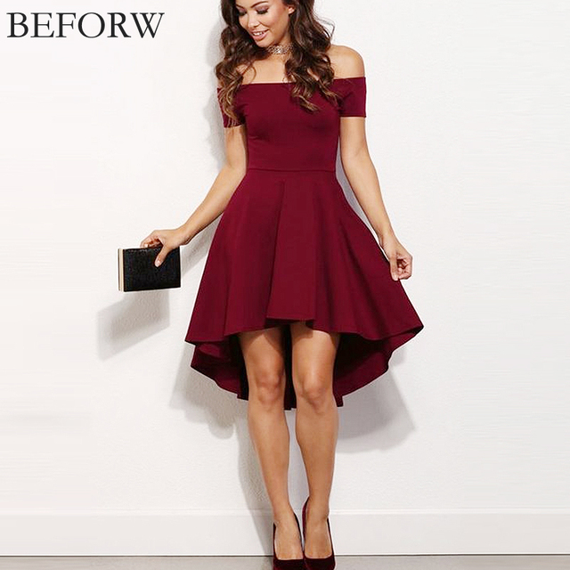 BEFORW 2017 одежда для женщин платье летнее Сладкий стиль платье сексуальный слововоротник платья больших размеров мода элегантный нерегулярный платья Высококачественный XXL
