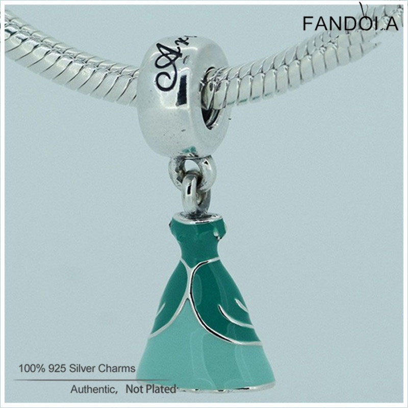 Fandola Ariel Dress Dangle Charms 925 Sterling Silver Green Enamel Beads for Jewelry Making Fits Women Bracelets Jewellery