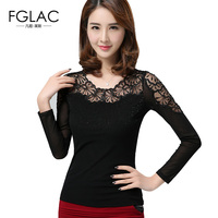 New Arrivals 2017 Spring Women Blouses Fashion Elegant Black Mesh Tops Diamonds Sexy Lace Tops Plus