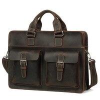 Роскошные Натуральный Crazy Horse кожа для мужчин's сумки Multi функция пояса из натуральной кожи сумка 14 ноутбук Повседневная сумка