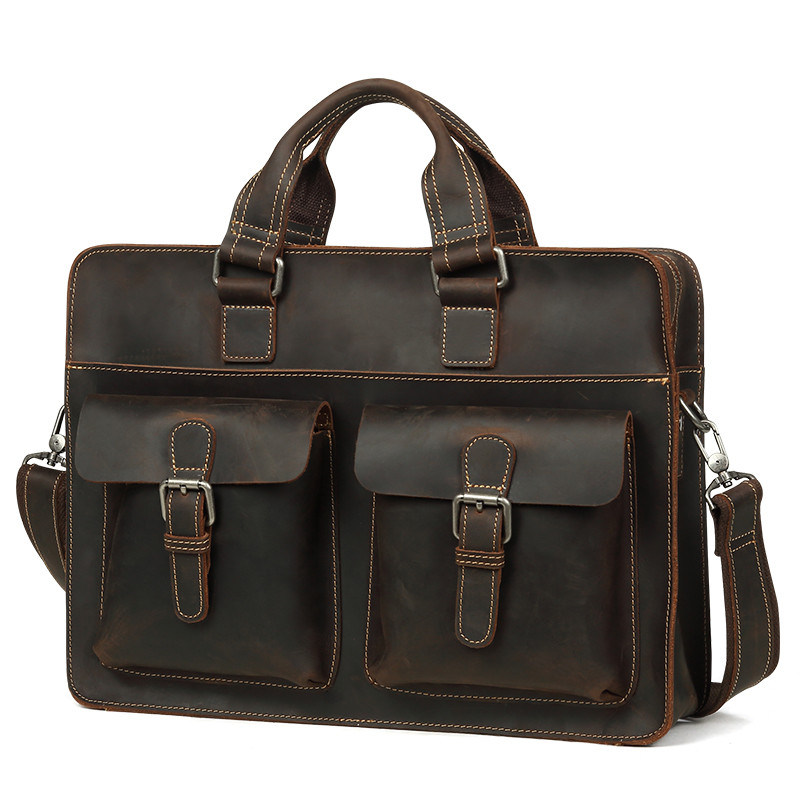Luxury Natural Crazy Horse Leather Men's Handbags Multi Function Genuine Leather Shoulder Bag 14 Laptop Bag Casual Handbag