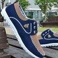 2016 Лето Большой Размер Мужская Обувь Мода Дышащая Холст Случайный Мужская Вулканизированной Обувь Комфорт Квартиры Zapatos Hombre размер 39-46
