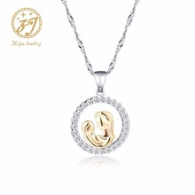 Zhijia Zircon Necklace Mother Love Baby Pendants Necklaces for Women Luxury Charm of Mothers day Gift For Mom