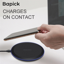 Bapick Qi 5W Wireless Charger for Samsung S10 S8 S9 Galaxy Note 9 Edge for iPhone X Xs MAX XR 8 7 Plus Phone Fast Charging Pad phone camera lens 9 in 1 phone lens kit for iphone x xs max 8 7 plus samsung s10 s10e s9 s8