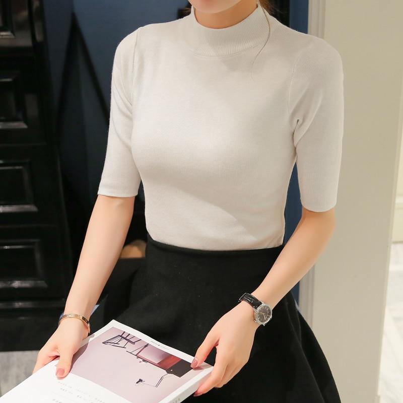 2018 del otoño del resorte suéter de punto y Jerséis para las mujeres media  manga cuello alto chandail Femme maglioni Delgado Donna e9b735258a0