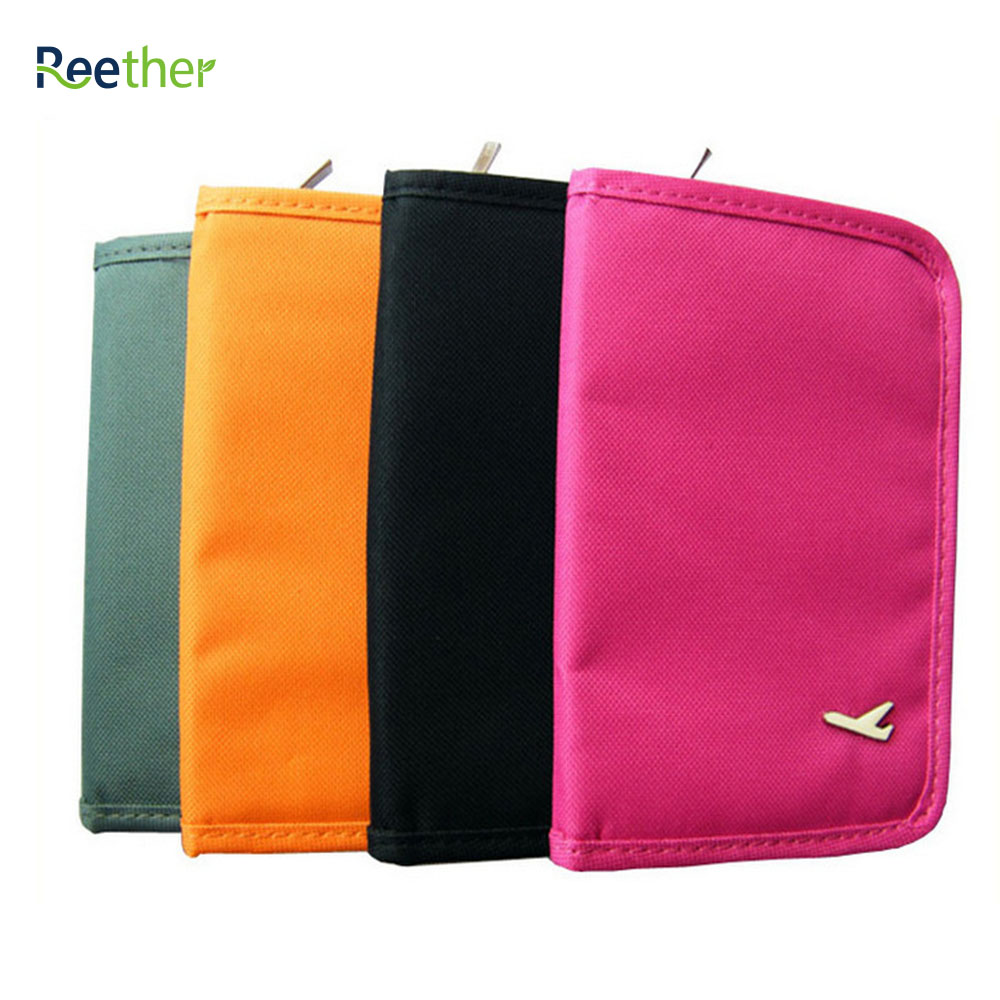 REETHER Short Passport Holder Card Document Organizer Wallet Travel Package Multi-purpose Bags ID Credit Card Bag w/ Zipper lxhysj fashion print passport bag lady travel passport file credit card identity card holder organizer multi functional bag