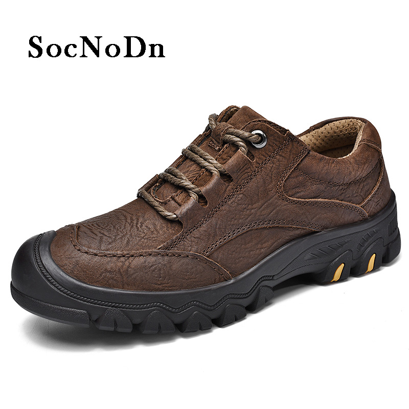 cc438d06bc30 ≧SocNoDn Men s Boot 2018 Spring Autumn Genuine Leather Casual Work ...