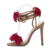 Sandálias de Design Da Marca Flor 3D Rose Decro Bandage Lace Up Simples Sandálias Sandália de Salto Alto Bombas Mulheres sapatos Stilettos de Banda Estreita