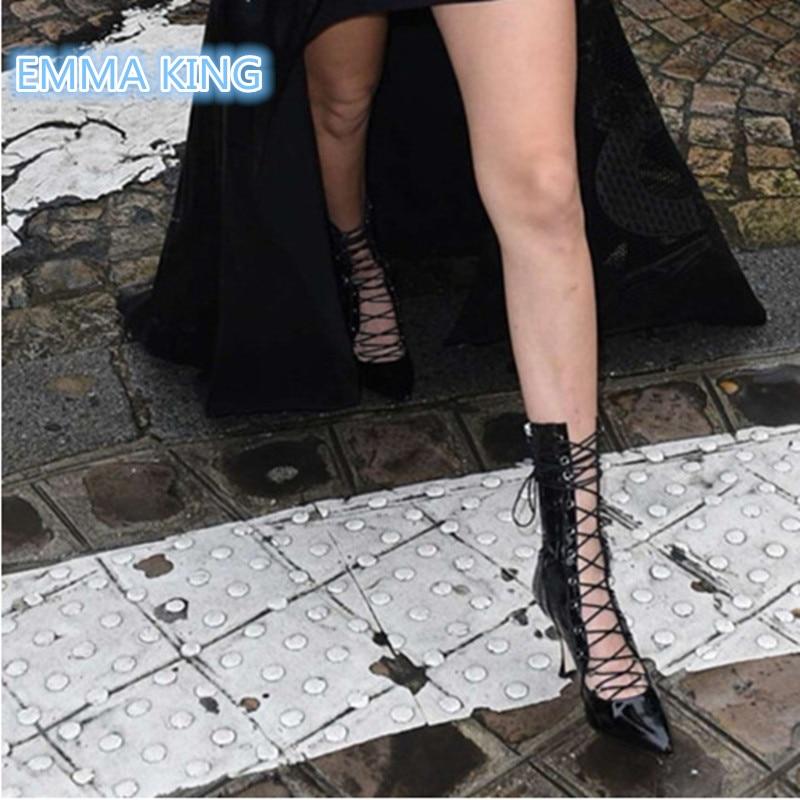 Solid Femme Haut Chaussures En Automne Bracelet Femmes Bottes Cuir Bout Stiletto Croix Noir Pointu Creux Martin Talon Cheville Printemps Sexy Hzwqgg7