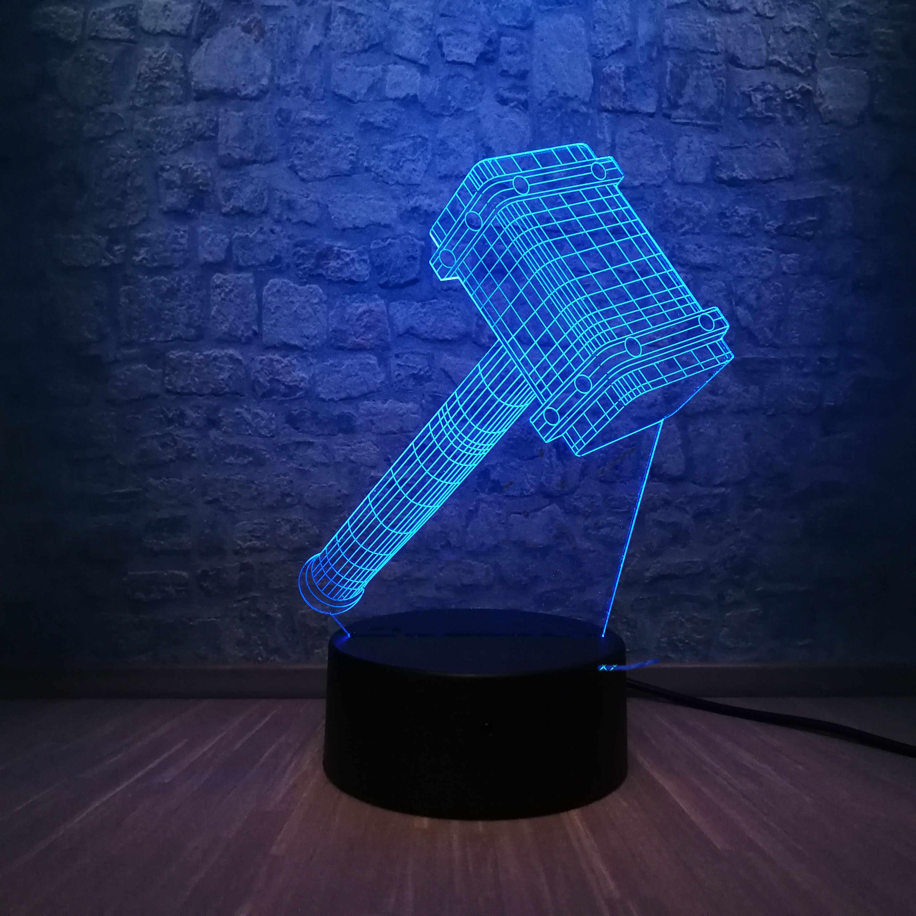 Juguetes dormitorio héroe Multicolor 3D figura niño navidad Thor LED RGB regalo noche Avengers Super iluminación Marvel dormir luz lámpara chico VqSzMUp