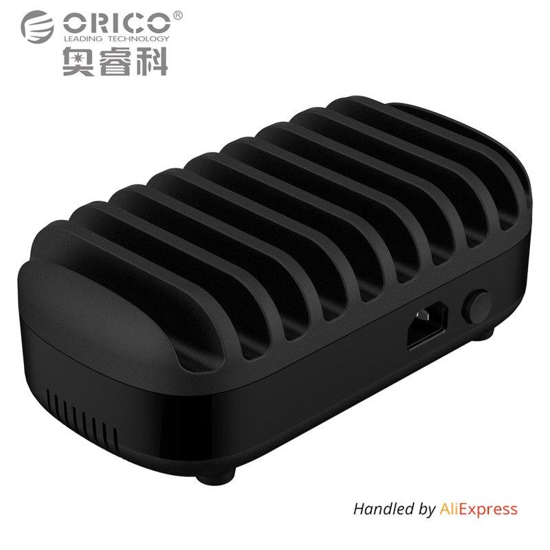 ORICO 10 Puertos USB Cargador Dock Station con Soporte 120 W 5V2. 4A * 10 de Carga USB para el Teléfono Inteligente Tablet PC Aplicar para el Hogar Público