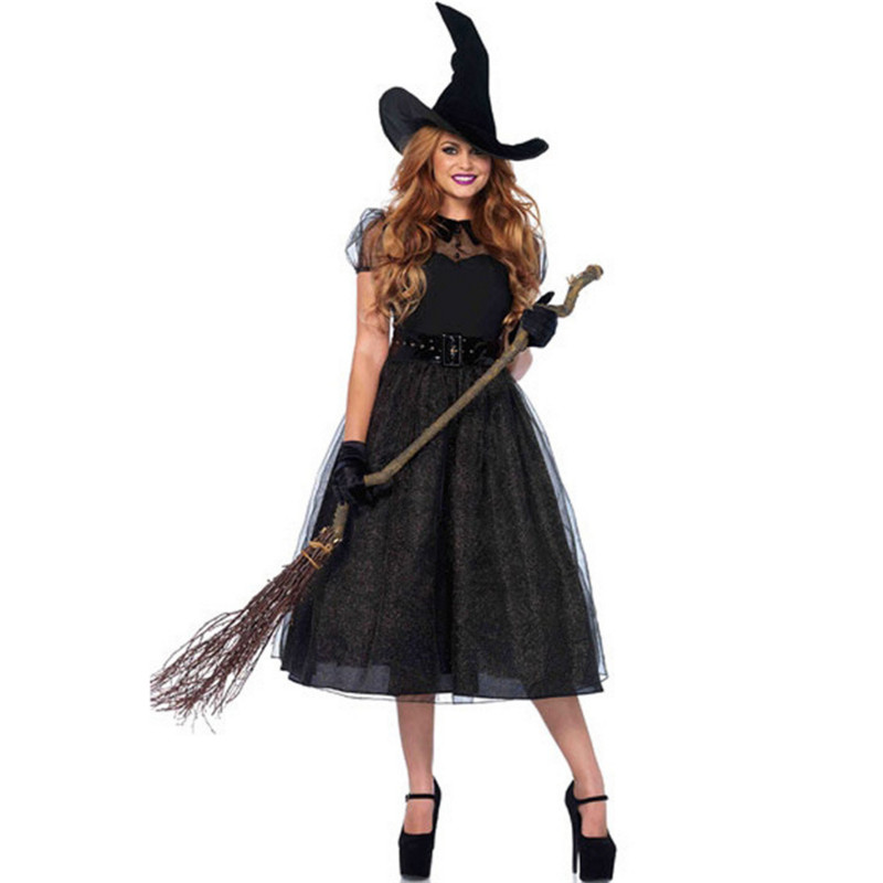 2018 new luxury female magician Costume Halloween host theatrical performances black Pu witch Cosplay dress photography clothing