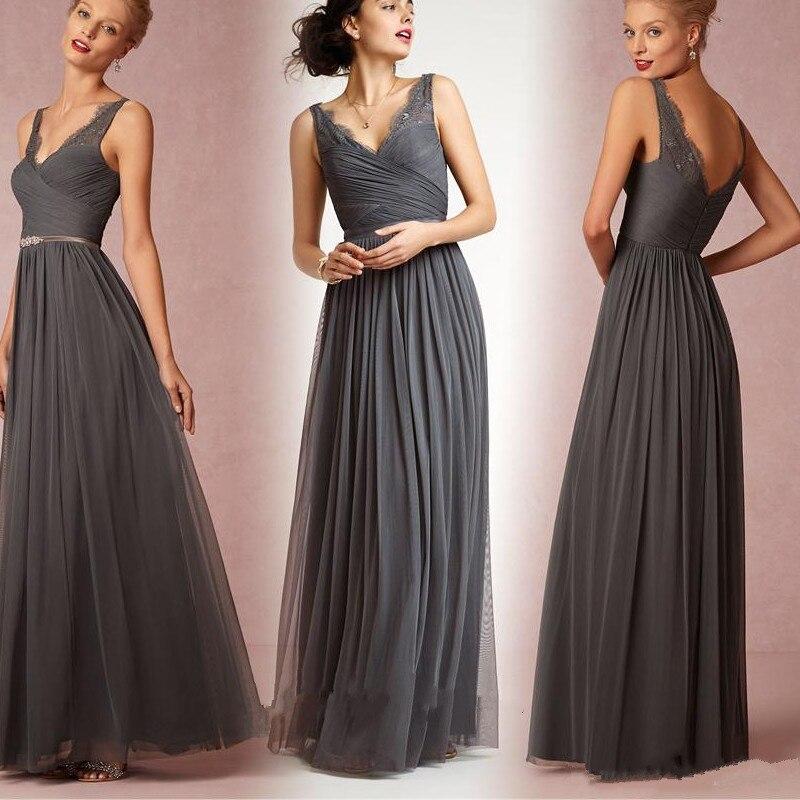 2017 Dark Grey Long Bridesmaid Dresses Cheap V Neck Ruched Beaded