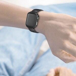 Image 5 - ブラックカーボン保護時計バンド 42 ミリメートル 44 ミリメートル 38 ミリメートル 40 ミリメートル腕時計用カバーiwatchシリーズ 5 4 3 2 1 ストラップ