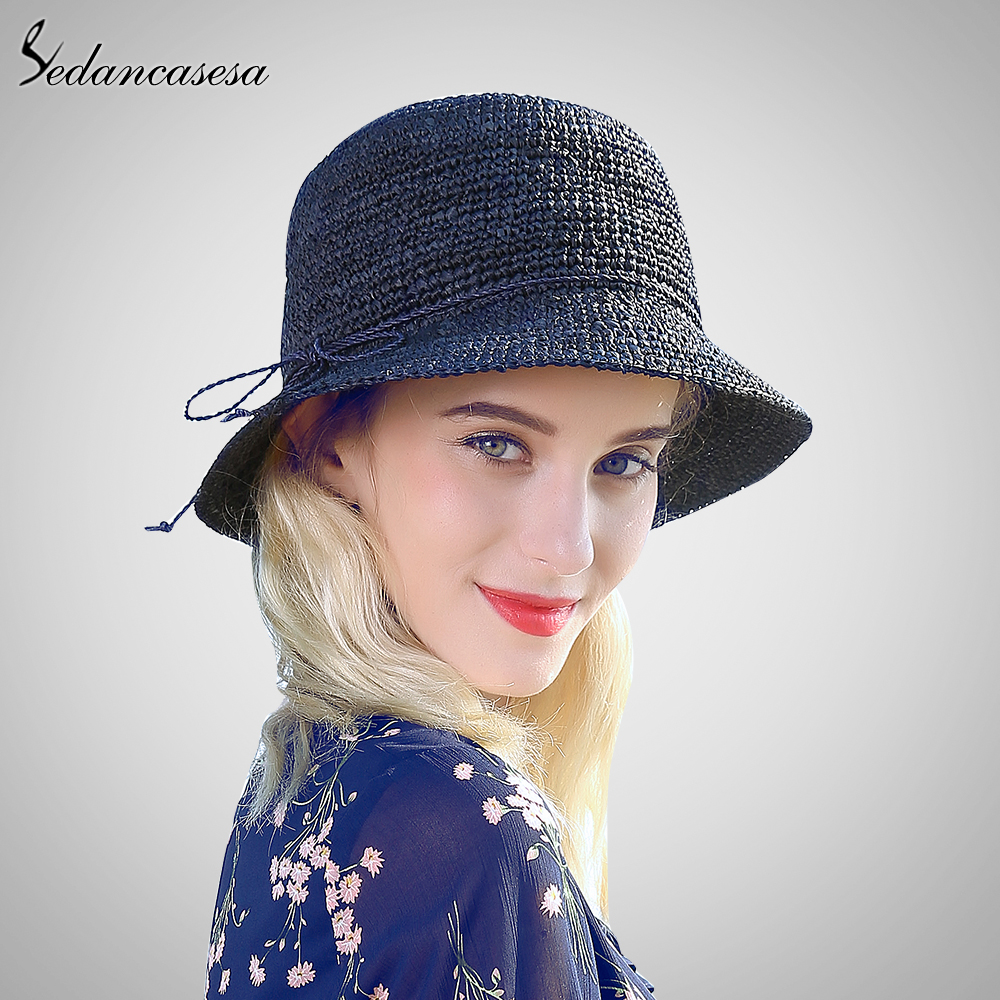 Sedancasesa moda mujeres paja rafia ganchillo sombrero sombreros ...