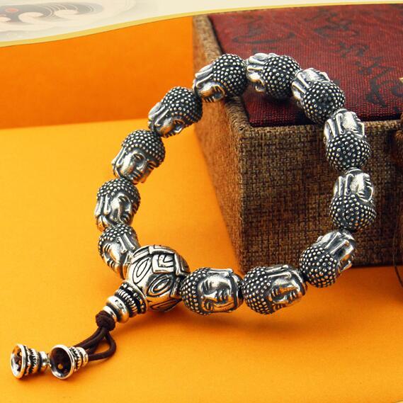 100% 999 Silver Sakyamuni Buddha Statue Beads Bracelet Tibetan Buddha Head Beaded Bracelet Wrist Mala Bracelet 19 tibet buddhism copper cloisonne sakyamuni tathagata amitabha buddha statue