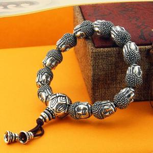 Image 2 - 100% 999 Zilveren Sakyamuni Boeddha Standbeeld Kralen Armband Tibetaanse Boeddha Hoofd Kralen Armband Pols Mala Armband