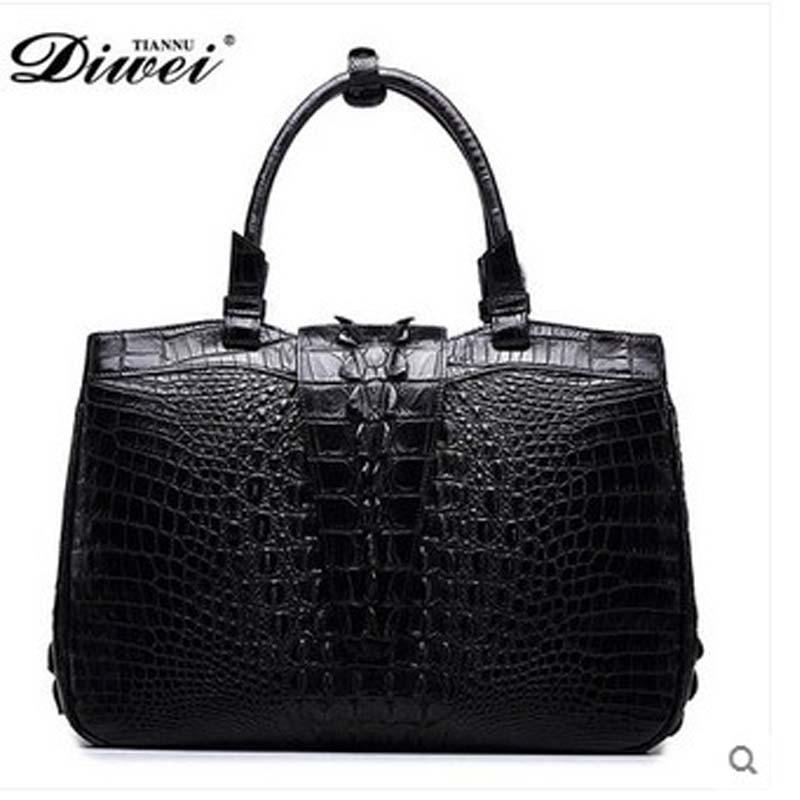 diwei 2018 new hot free shipping really crocodile skin woman handbag fashion luxury leisure women bag  female bag quality goods