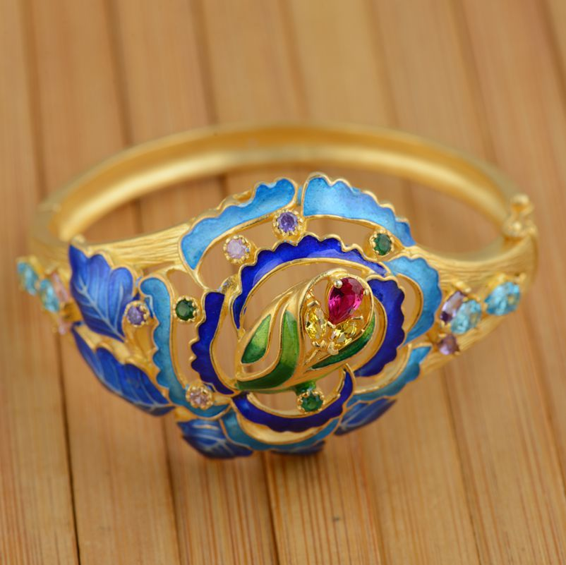 S925 Gold Sterling Silver Inlay Bracelet wholesale Shaolan women jewelry opening process