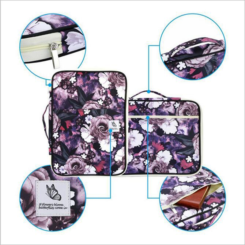 New Design Multifunction A4 File Ipad Bags Waterproof Nylon Portable Zipper Business Solid Passport Phone Pen Book Card Holder