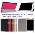 """4W Ultra Slim Folio Stand Tri-fold Custer PU Leather Flip Case Cover For Huawei MediaPad M3 8.4"""" BTV-W09 BTV-DL09 Tablet"""