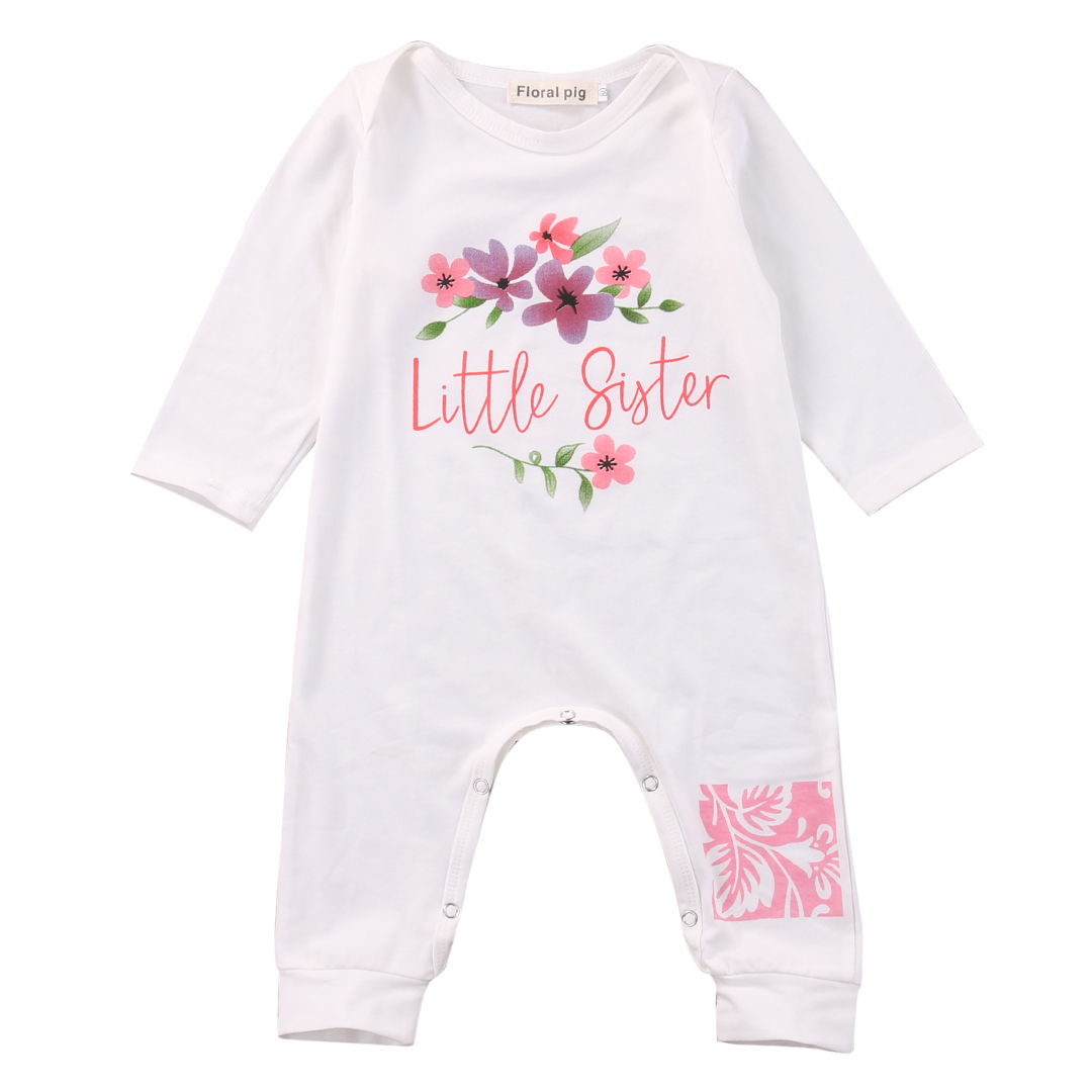 Cute Newborn Baby Girls Clothes Romper Long Sleeve Little Sister Floral Bebes Rompers Playsuit One Pieces Outfit Sunsuit 0-18M cute newborn baby girls clothes floral infant bebes romper cotton jumpsuit one pieces outfit sunsuit 0 18m