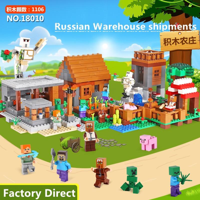 18010 My World series with 21128 Minecrafted Building Blocks My Village set Bricks DIY christmas Gift