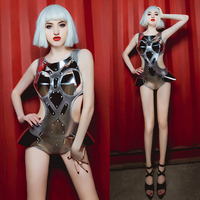New Sexy Women Nightclub Bar DS Performance Dress Sexuality DJ Stage Bodysuit Singer GOGO Party Rivet Sequins Dance Costume
