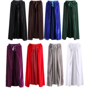 Image 2 - Adult Hooded Cloak Long Velvet Cape Robe Green Black Red Halloween Carnival Purim Coats Medieval Witch Wicca Vampire Costume