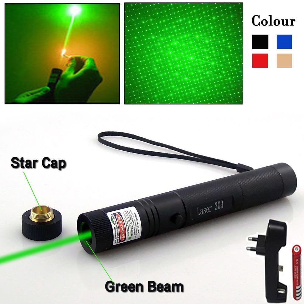 Puntero láser verde pluma Lazer enfoque ajustable cabeza estrellada quema partido Laser303 vista 5000-10000 m para accesorios de caza