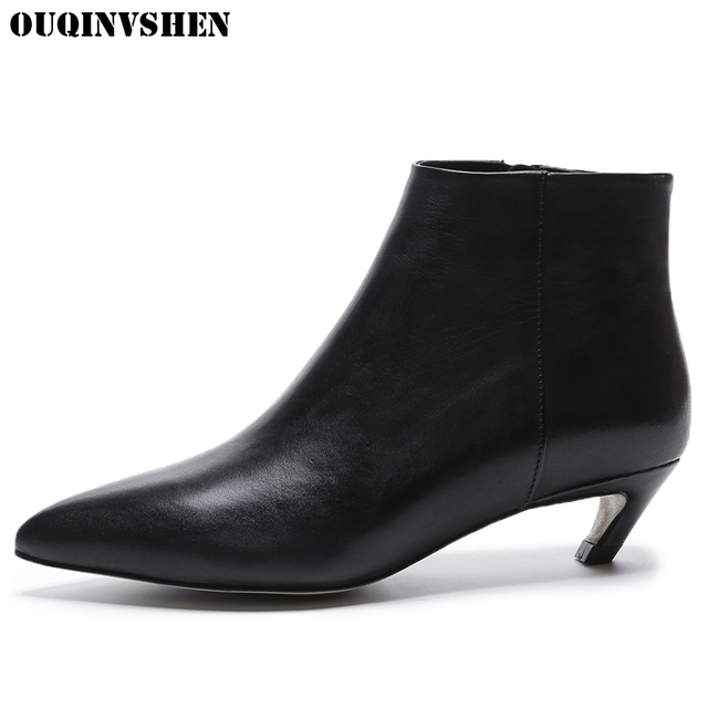 OUQINVSHEN Zipper Pointed Toe Boots Casual Fashion Women Ankle Boots Spike Heels High Heels 2017 New Ladies Girl Boots Brand