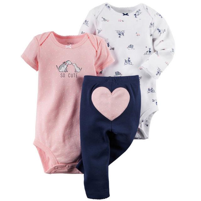 Bebé Girls Primavera Ropa Set Jumper + Pantalones de Algodón Recién Nacido Del Mameluco Del Niño Del Mono 2017 Nueva Moda 15E