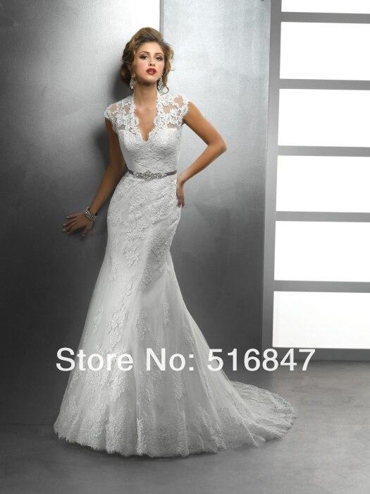 New noble white ivory v neck lace bridal gown beaded for David s bridal princess wedding dresses