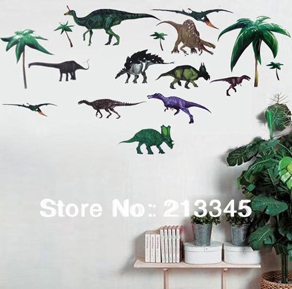 [Fundecor] динозавры века питомника детская комната анимационный мультфильм стены стикеры Съемный прозрачный 5067