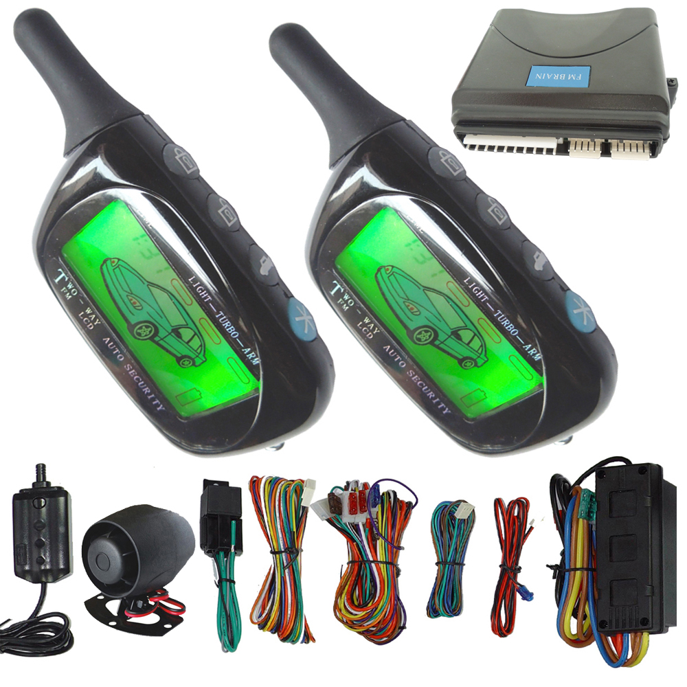 2 way car alarm system long distance remote start stop car engine remote keyless entry central
