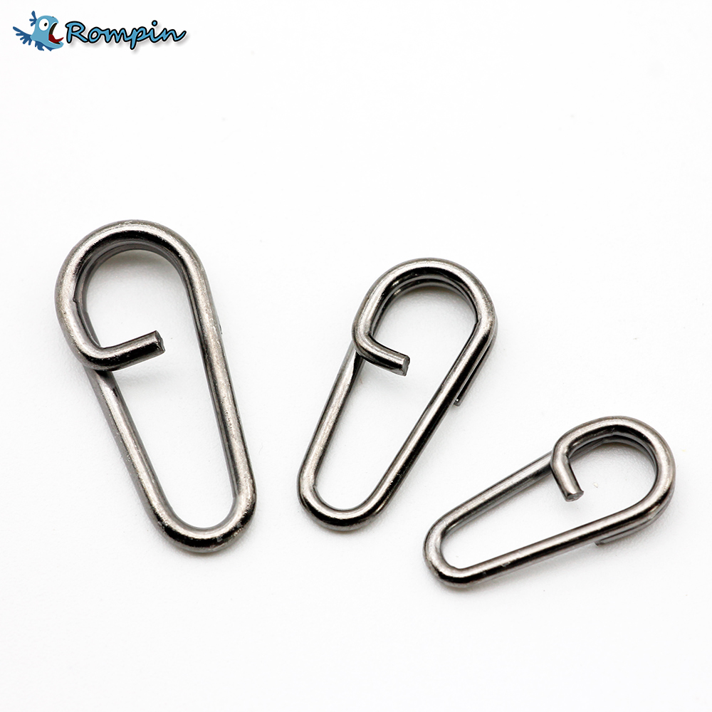 Rompin 50pcs/bag Bent Head Oval Split Ring Carp Stainless Steel Carp Fishing Tackle Accessories Size16 18 21 Snap Swivel