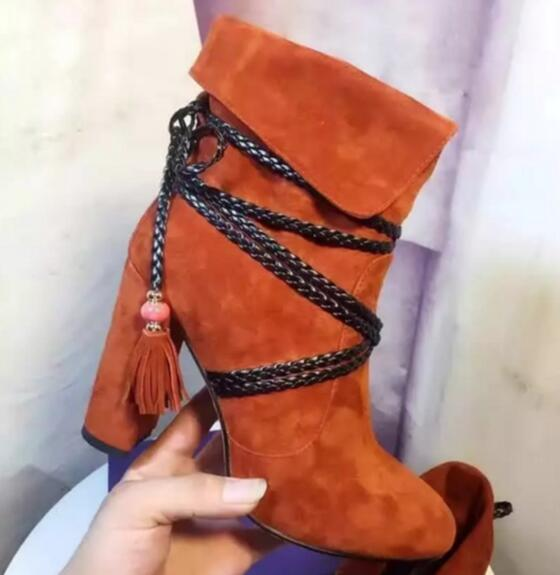 Fall winter woman booties knitting chains cross-tied ankle boots for woman orange/grey/black thick high heels tassels boots