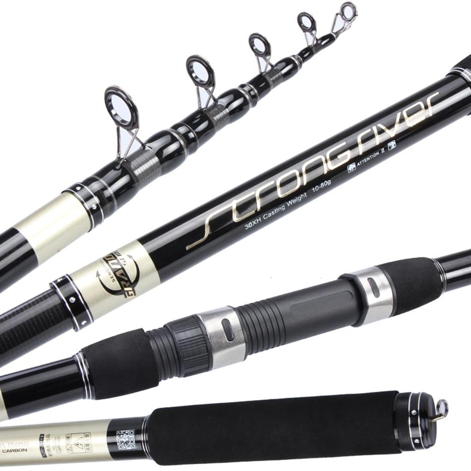 High quality carbon Best selling fiber portable telescopic 2 1m 5 4m fishing rod rotating bait