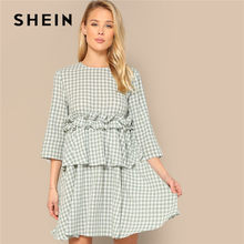73226d9d4e SHEIN Green Boho Ruffle Trim Foldover Front Gingham Short Dress Spring  Women Cute Three Quarter Length Sleeve A Line Dress