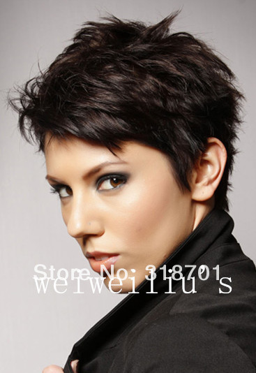 short haired styles choppy hairstyles about 4inches brown 7109 | Short Choppy Hairstyles Short Straight about 4Inches Brown with Auburn Highlights Perfect Wig free shipping