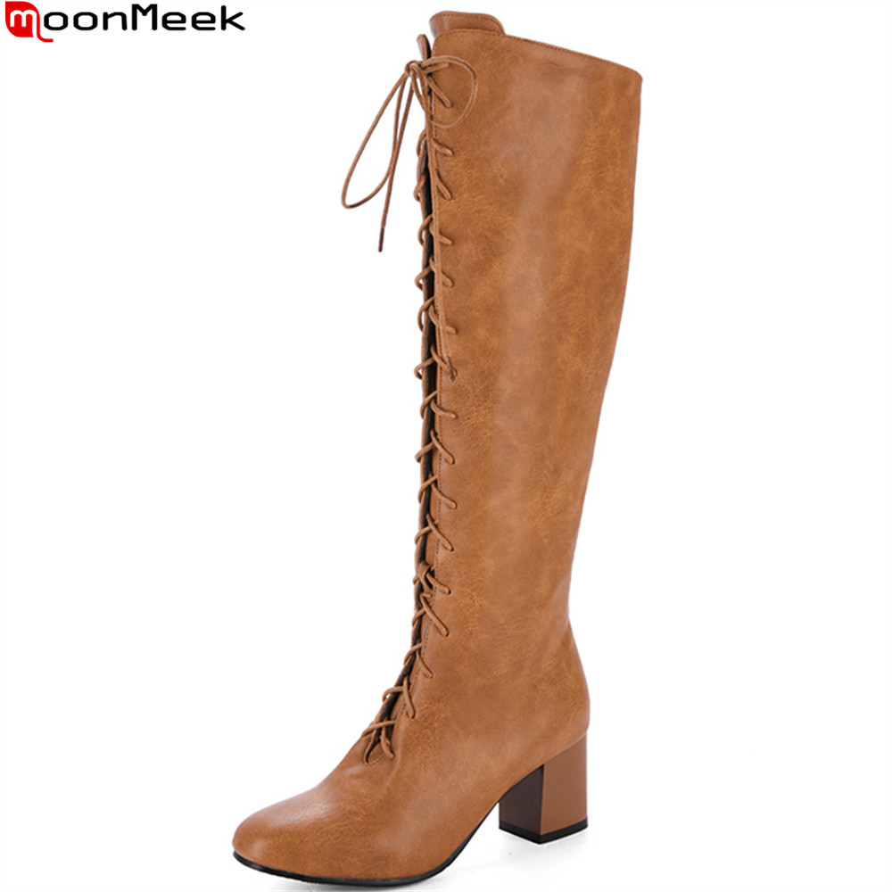 MoonMeek black khaki brown fashion women boots round toe ladies autumn winter boots cross tied knee high boots plus size 34-46