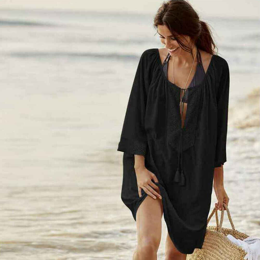 Wanita Bikini Cover Up BoHo Pantai Brasil Gaun Baju Renang Wanita Kaftan Sarung Crochet Kimono Pantai Panjang Blus Atasan